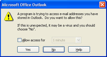 MS Office Outlook Email Address Access Notification