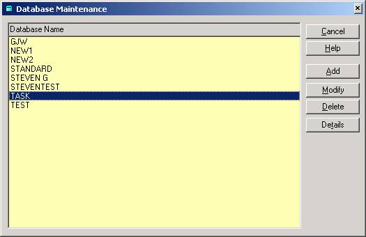 Database Maintenance Screen in RecFind/SQL