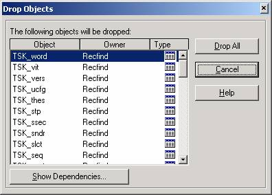 Database Deletion in RecFind/SQL - Drop Objects Screen